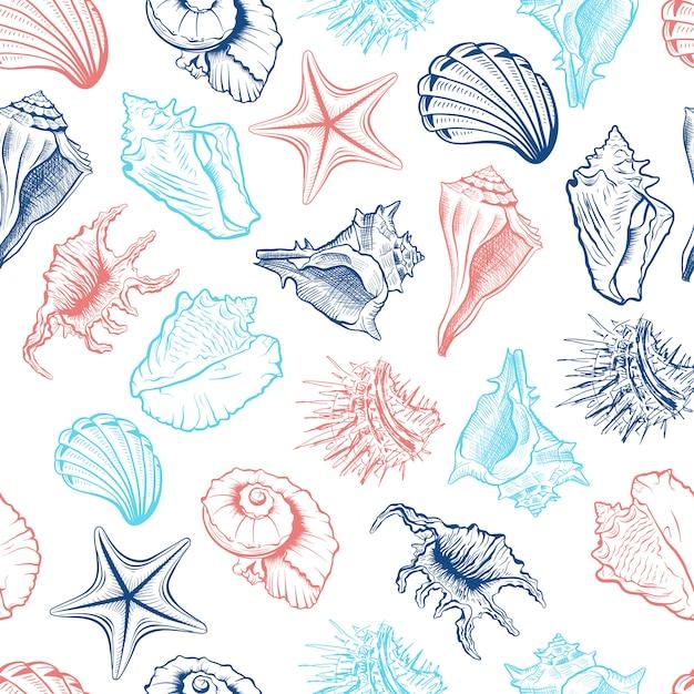貝殻のシームレスパターン 無料ベクター