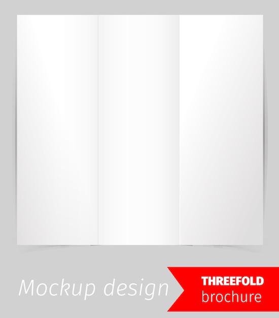 三つ折りパンフレットモックアップデザイン 無料ベクター
