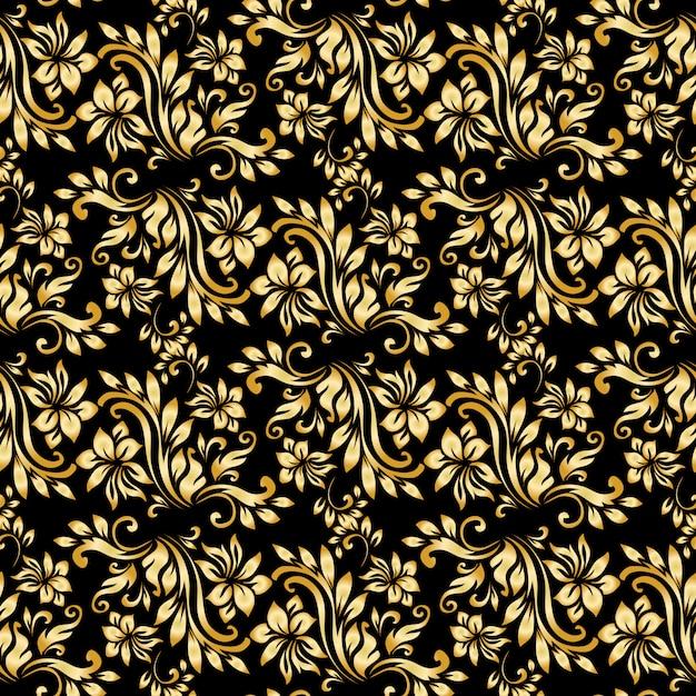 Бесшовный образец с роскошным сделанным из дамасской стали украшением на черном фоне. Бесплатные векторы