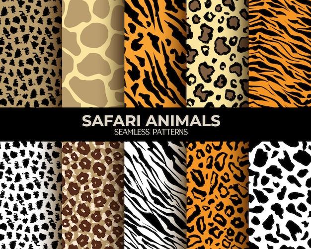 Мех животных бесшовные модели леопард, тигр, зебра Бесплатные векторы
