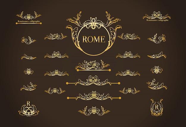 ページ装飾のためのイタリアの書道のデザイン要素のセット 無料ベクター