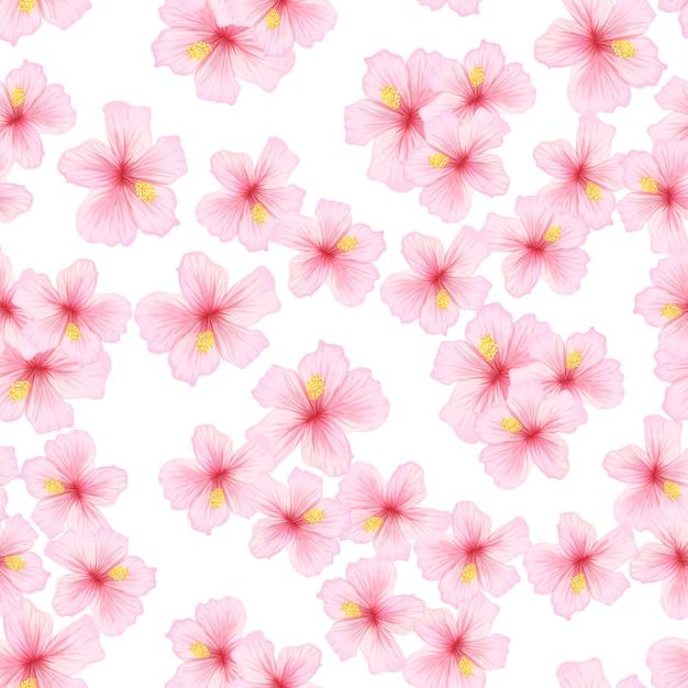 Розовый цветок сакуры бесшовные модели. Бесплатные векторы
