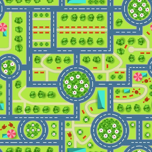 Карта вида сверху на город Бесплатные векторы
