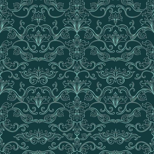 ダマスク織のビンテージシームレスパターン 無料ベクター