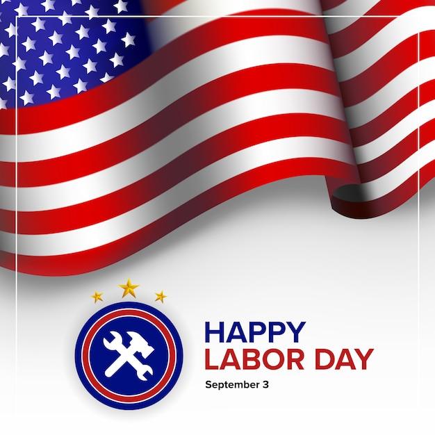 幸せな労働者の日の背景-アメリカ合衆国 Premiumベクター