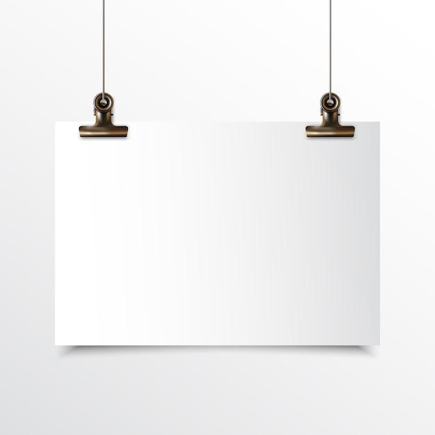 リアルなモックアップゴールドバインダークリップでぶら下がっている空白の水平紙 Premiumベクター