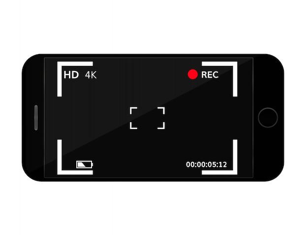 カメラのファインダー付き携帯電話の画面 Premiumベクター