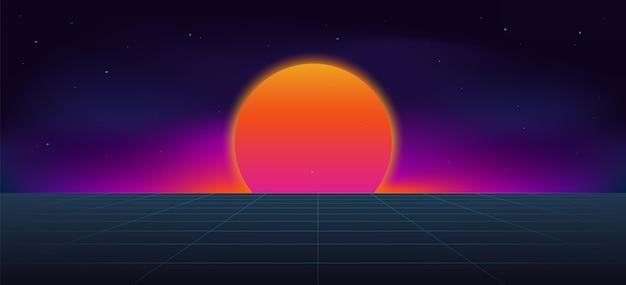 サイバーパンクネオン太陽の背景。 Premiumベクター