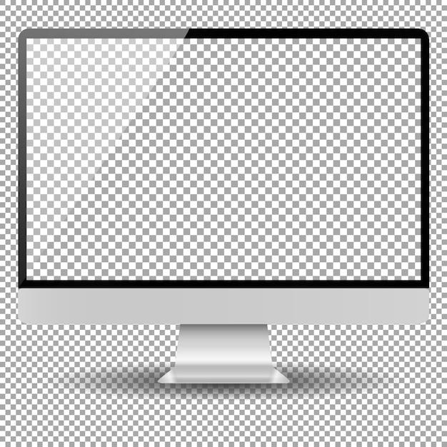 空白のモニター画面のコンピューターのモックアップ Premiumベクター