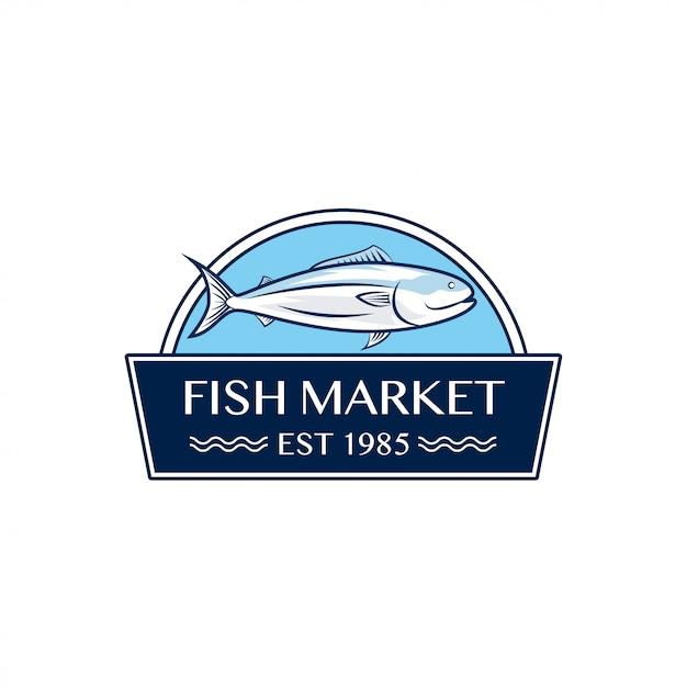 Дизайн логотипа рыбный рынок Premium векторы