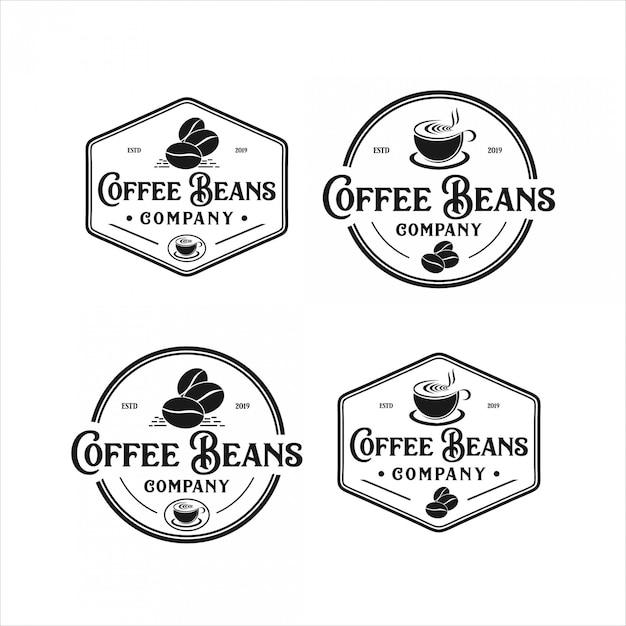コーヒー豆のビンテージロゴデザイン Premiumベクター