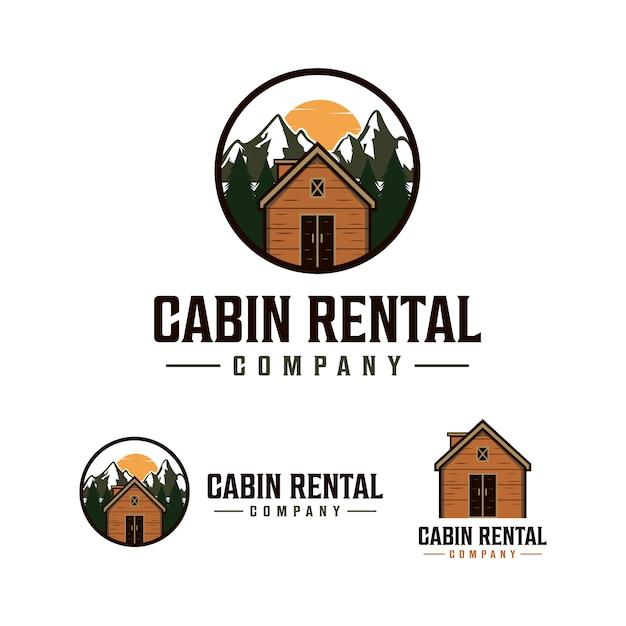 Логотип аренды кабины с пейзажем Premium векторы