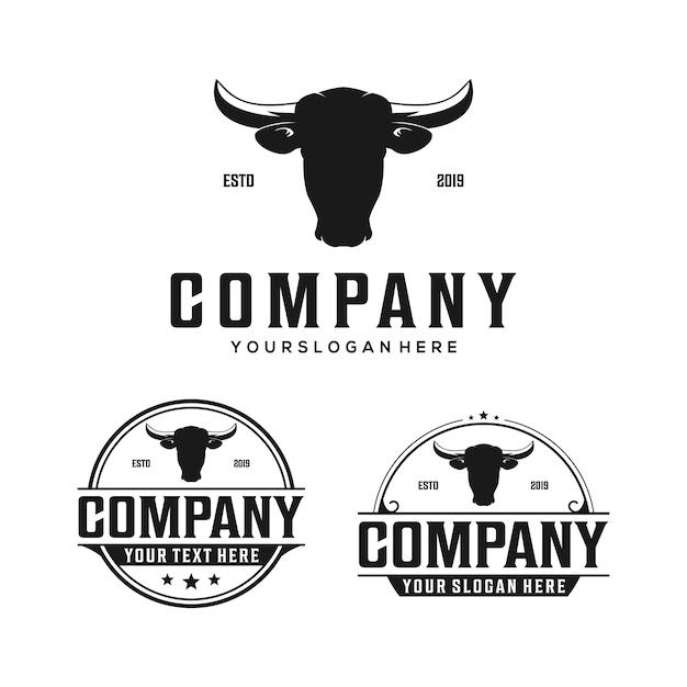 牛の頭バッジビンテージロゴ Premiumベクター