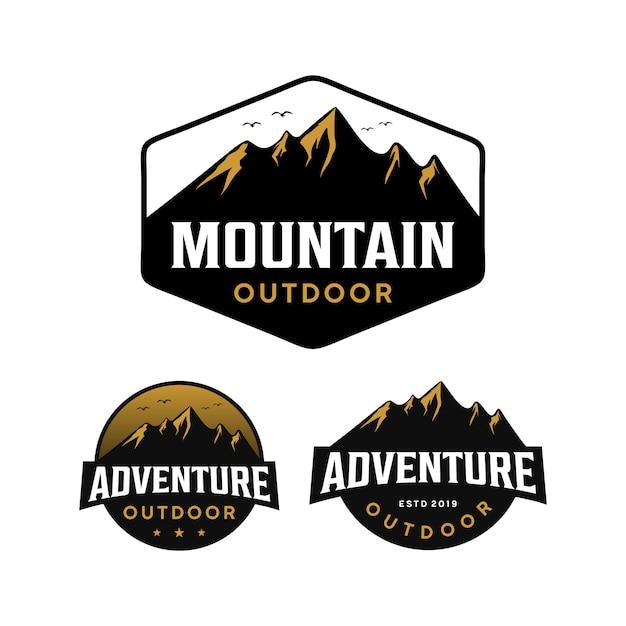 山、冒険、アウトドアのロゴ Premiumベクター