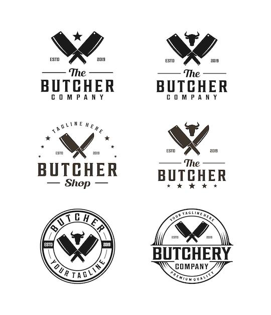 包丁と牛の頭のシルエットと肉屋のロゴ Premiumベクター