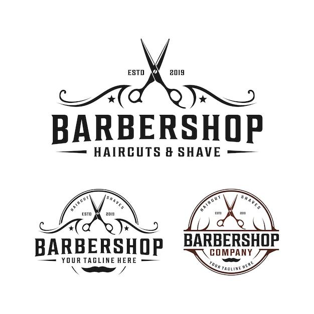 エレガントな装飾が施された理髪店のシンプルなミニマルロゴデザイン Premiumベクター