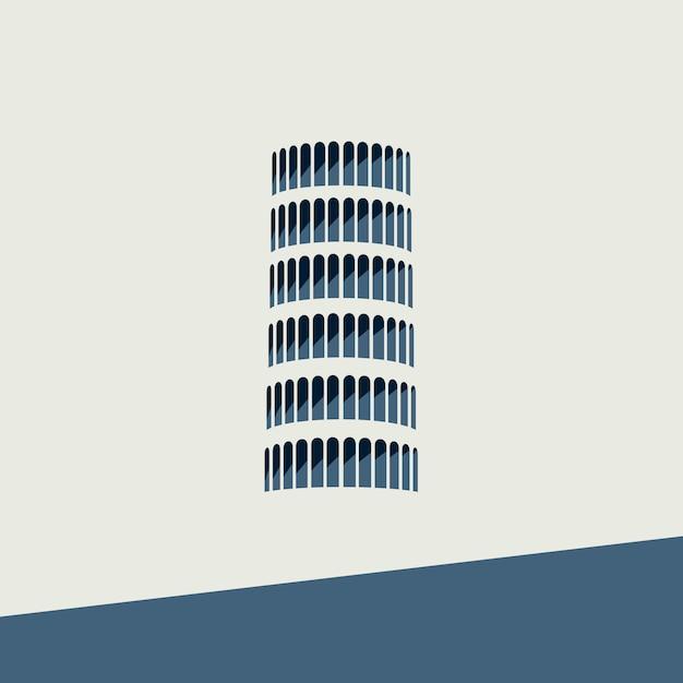 Вектор символ пизанской башни в плоском дизайне Premium векторы