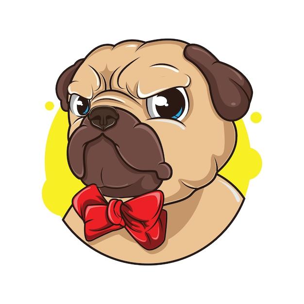Иллюстрация милого аватара мопса Premium векторы