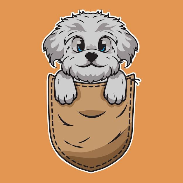 Милый мультфильм собака в кармане Premium векторы