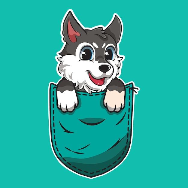 ポケットの中のかわいい漫画の犬 Premiumベクター