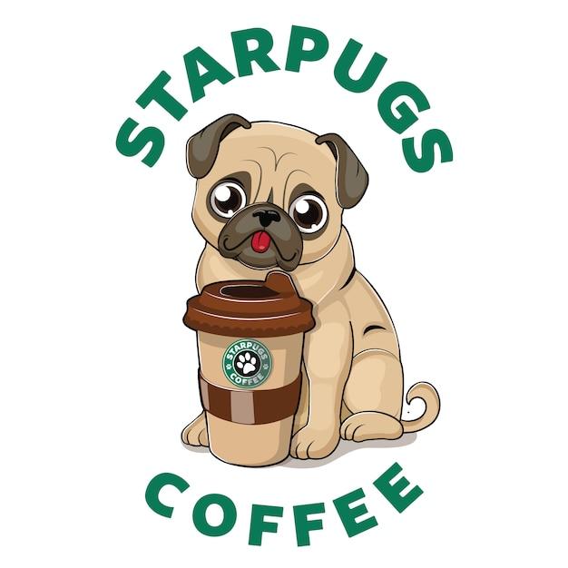 コーヒーカップとかわいいパグ Premiumベクター