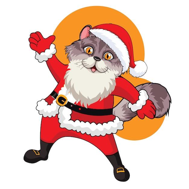 Санта-кошка векторная иллюстрация с белым фоном Premium векторы