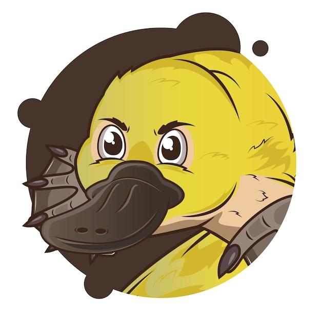 Большая голова желтый утконос аватар Premium векторы