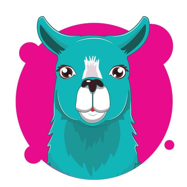 Большая голова ламы аватар Premium векторы