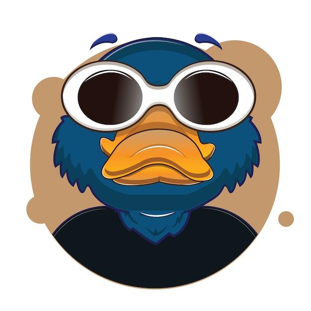 Большая голова синий утконос аватар Premium векторы