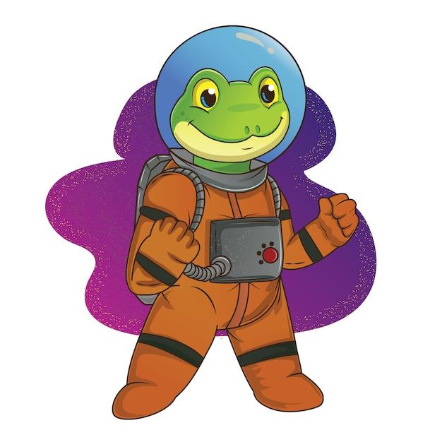 宇宙飛行士のカエル Premiumベクター