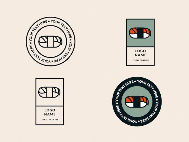 寿司ロゴのテンプレート Premiumベクター