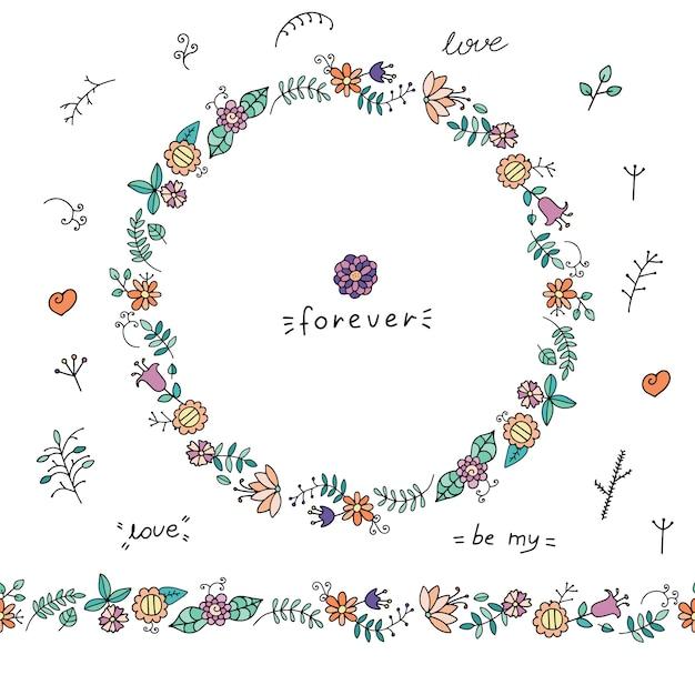 落書きの花と葉の花輪 Premiumベクター