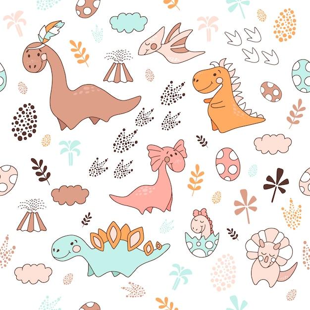 Бесшовный фон с динозаврами, векторная иллюстрация Premium векторы