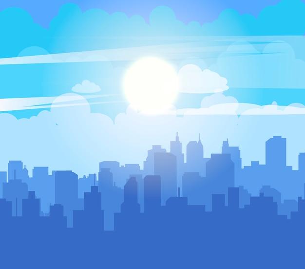 青い空と平らな街並み Premiumベクター