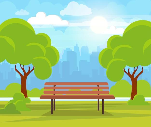 緑の木々とベンチと市の夏の公園。 Premiumベクター