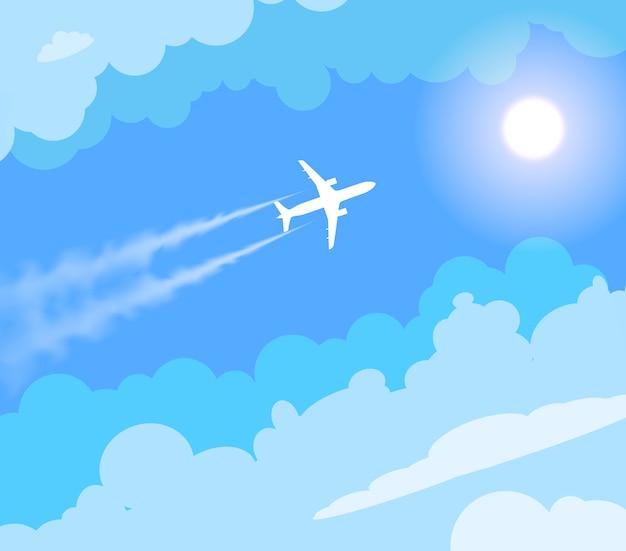 Вектор летающий самолет в солнечном голубом небе. Premium векторы