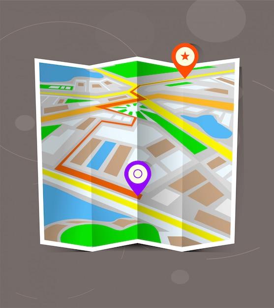 Абстрактная карта города сложенная с отметками положения. Premium векторы