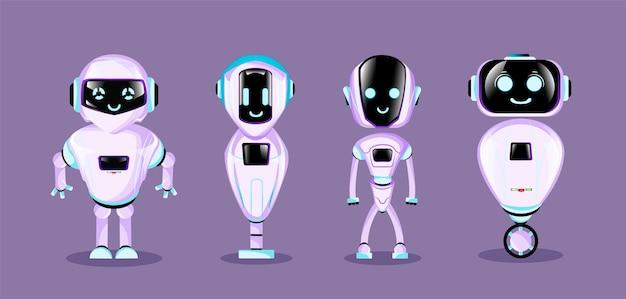 かわいい漫画のロボットのセットです。 Premiumベクター