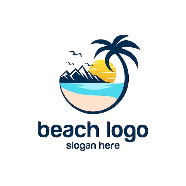 ビーチのロゴのベクトル Premiumベクター