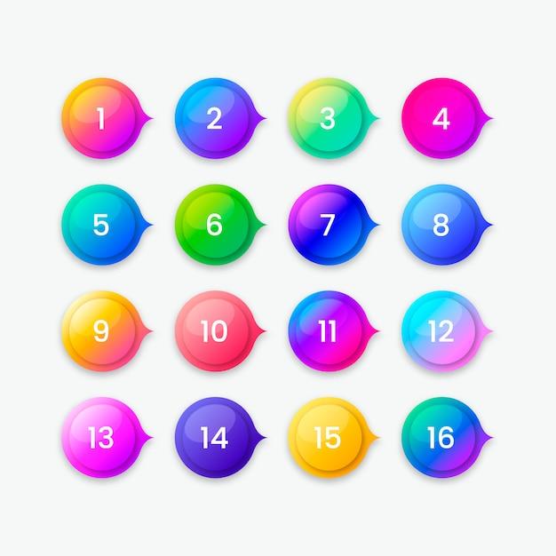 Красочная коллекция кнопок градиента Бесплатные векторы