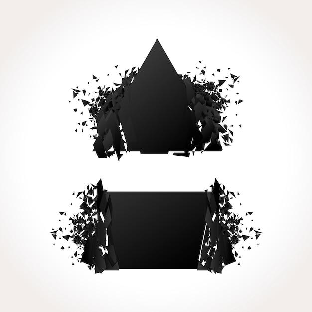 爆発暗い幾何学的なバナーセット 無料ベクター
