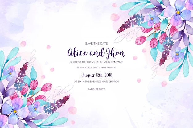 水彩花の結婚式の招待状 無料ベクター