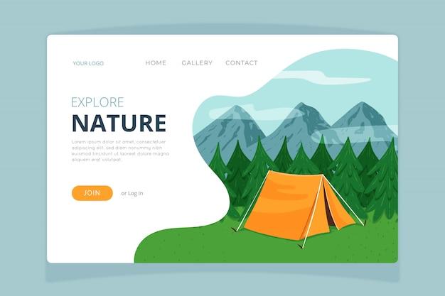 自然ランディングページテンプレート 無料ベクター