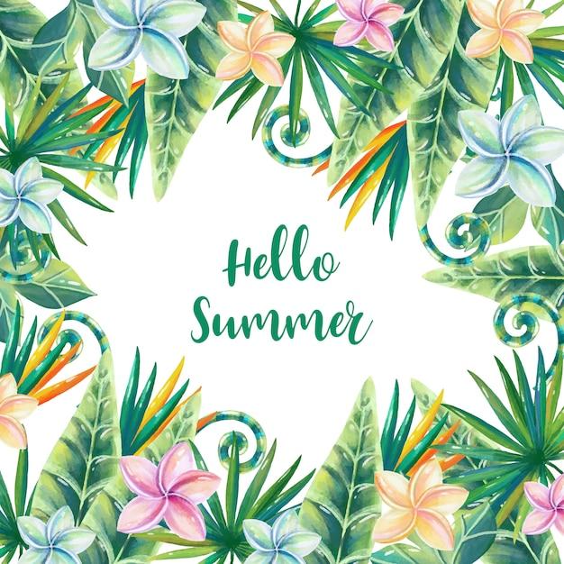 花飾り付き水彩夏フレーム 無料ベクター
