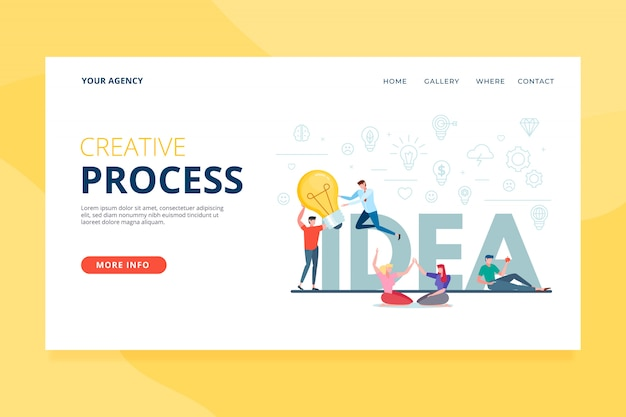 クリエイティブプロセスのランディングページテンプレート 無料ベクター