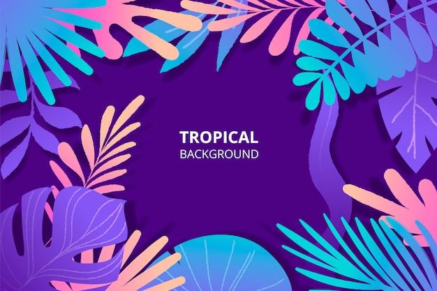 カラフルな野生の葉と手描きの熱帯背景 無料ベクター