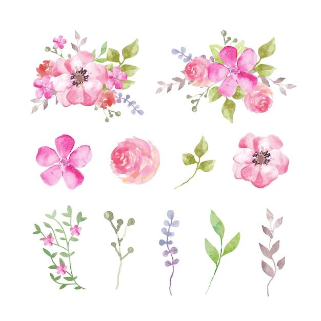 水彩花とピンクがかった色調の葉のセット 無料ベクター