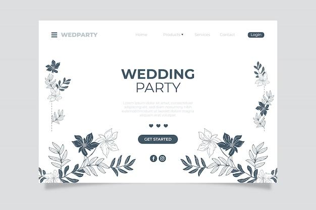 ウェディングパーティーのランディングページと手描きの花柄要素 無料ベクター