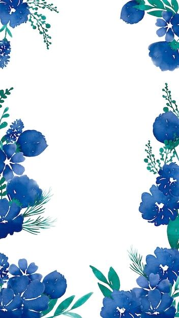 水彩画の青い花を持つ携帯電話の背景 無料ベクター