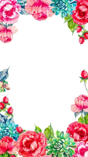 カラフルな水彩花の携帯電話の背景 無料ベクター